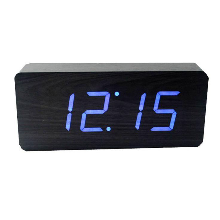 Amara | Slab Blue LED Alarm Clock - Black from Gingko | £42.50