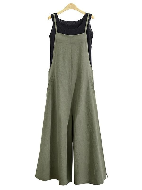 d983a1194ec Casual Loose Solid Tank Jumpsuit For Women in 2019