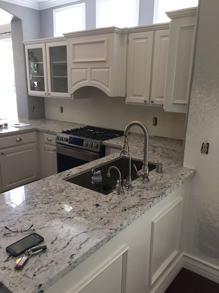 Best Backsplashes And Counters Images On Pinterest Kitchen - White ice granite kitchen bathroom countertops