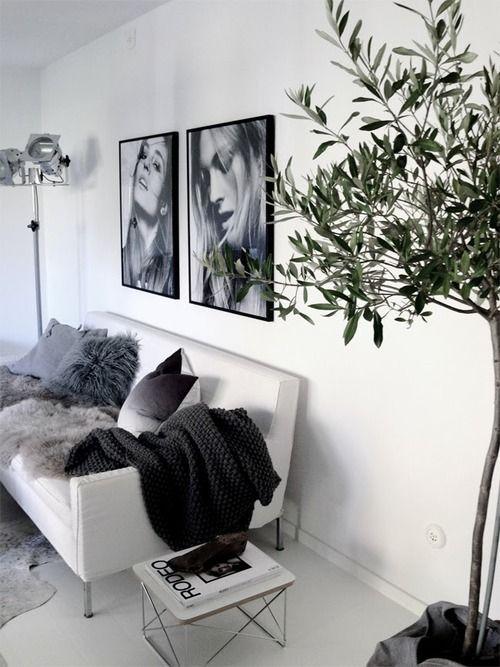 Foto's aan de muur. zwart/wit. zwarte, strakke, lijst