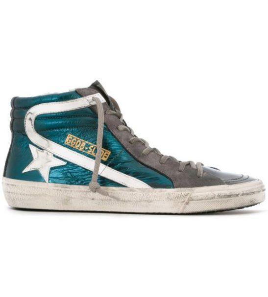 GOLDENGOOSE – Sneakers alte verdi Slide con stella bianca da donna 1