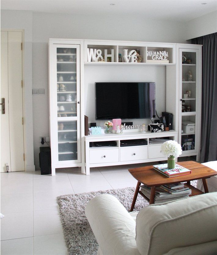 Ikea Hemnes I Like The Stand Itself But Way Too Much Busy Ness Going Living RoomLiving Room StorageWhite