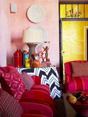 most people think that 'African' design is shades of beige and colonial accents with animal prints... but the contemporary African vibe is much more eclectic!
