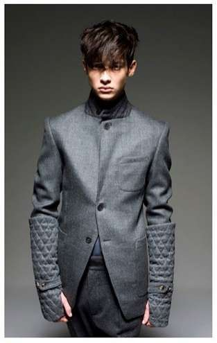 Tailored Urban Jacket with Quilted Fingerless gloves. Men's Fall Winter Fashion.