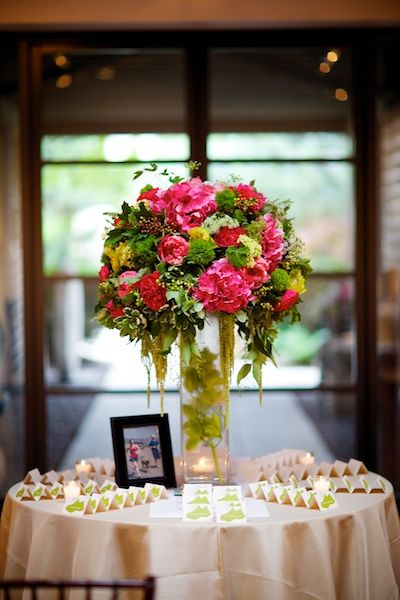 Steve Koo Photography. Sweetchic Events. Vale of Enna flowers. Douglas Dawnson Gallery. Peony. Cymbidium Orchid. Tulip.  Hydrangea. Garden Rose. Trick Dianthus. Viburnum. Hanging Amaranthus. Hot Pink,Yellow, Pink, and Green. Escort Card Table. Chicago Wedding.