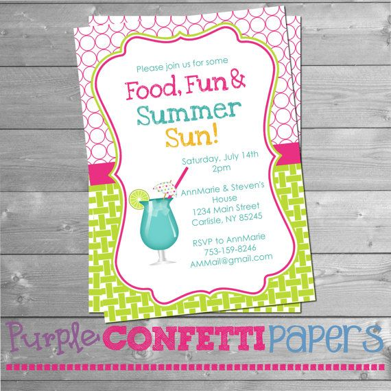 Printable Summer Party Invitation with Blue Drink - Summer BBQ, Blue Drink, Pool Party, Summer Party, Food Fun & Summer Sun, 5x7