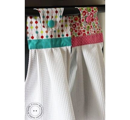 Tutorial Hanging Dishtowel With A Fabric Topper