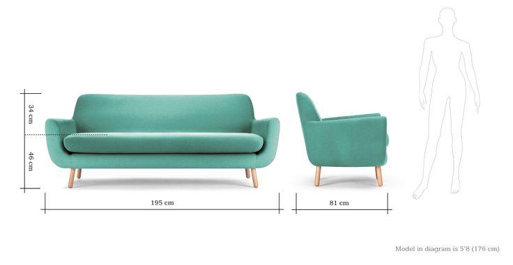 Jonah 3 Seater Sofa in Med blue   made.com