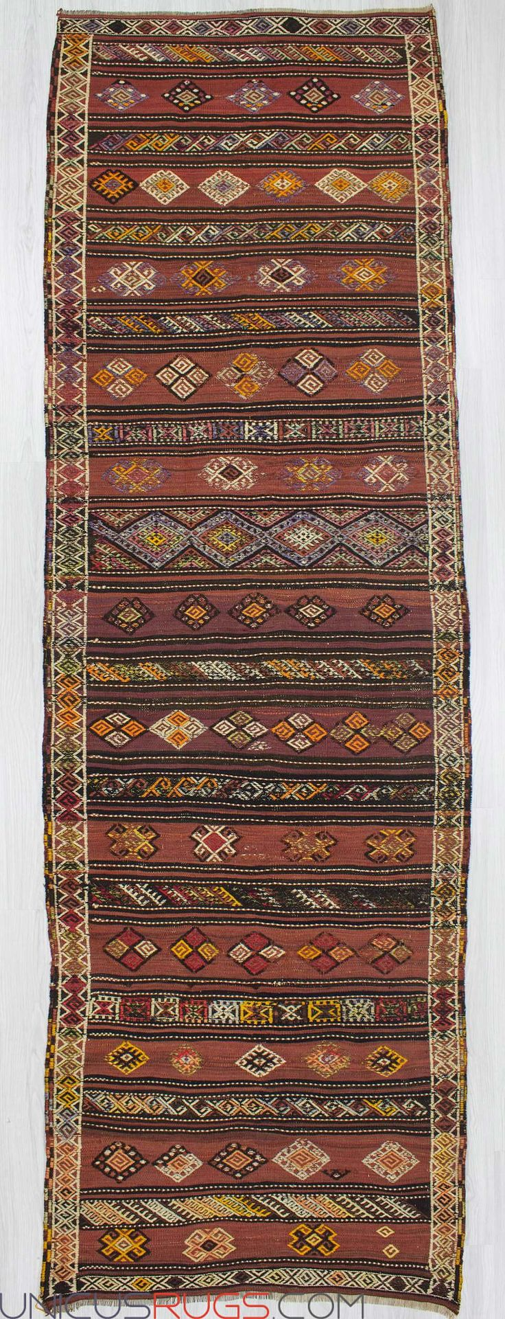 """Vintage kilim runner fron Malatya region of Turkey.İn good condition.Approximately 55-65 years old Width: 3' 9"""" - Length: 11' 9"""" RUNNERS"""