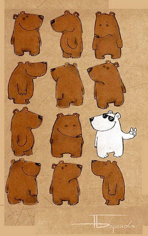 Рисунок смешной медведь, открытки