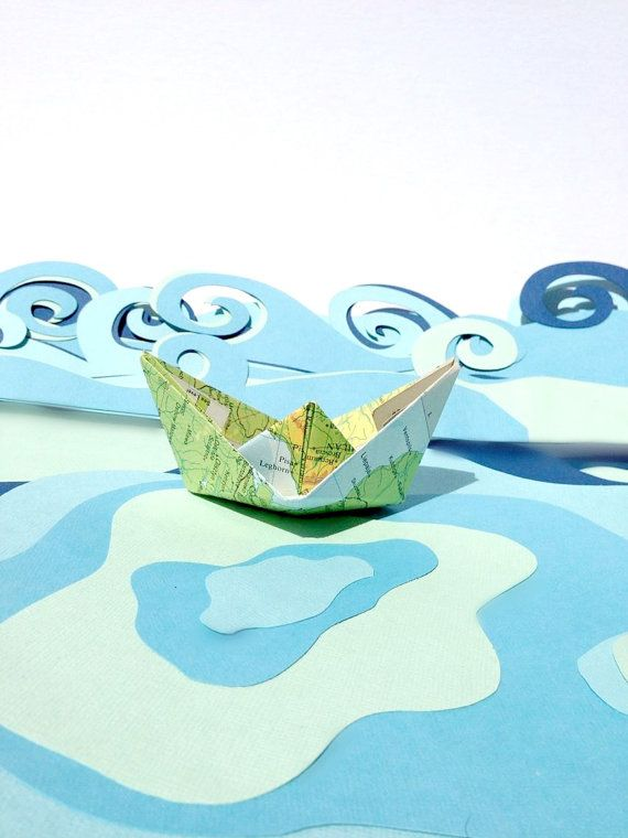 Paper Boats from Vintage Maps. Pack of 10 by RubyCanoeDesign