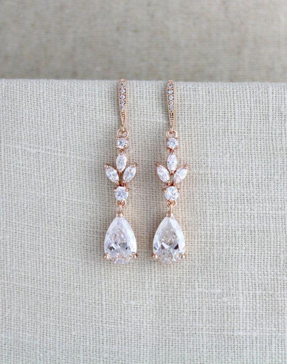Crystal Bridal earrings, Rose gold earrings, Wedding jewelry