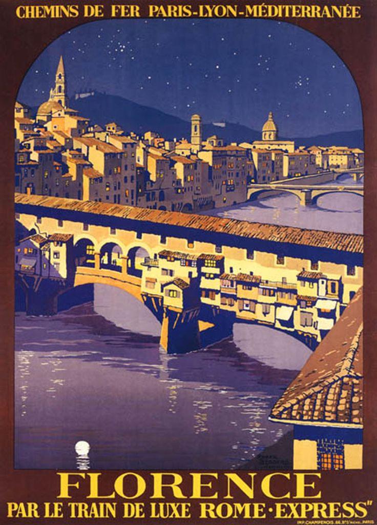 Inter Travel kelionių istorija. Florencija, Italija. Florence vintage travel poster