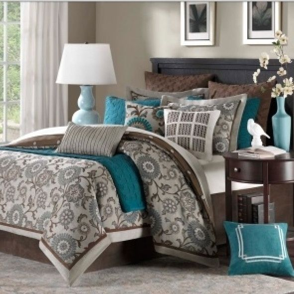 Chocolate, gray, teal bedroom color scheme? This could work in the bedroom