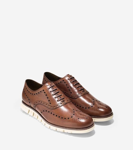 Cole Haan ZeroGrand Wing Oxford in British Tan
