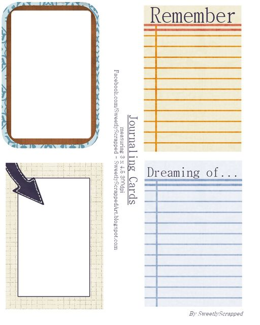 Free printable journaling cards...turn into something for my planner