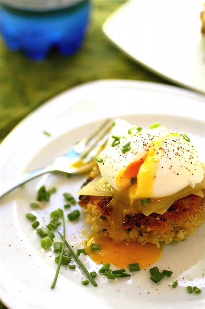 Quinoa Cake with Poached Eggs