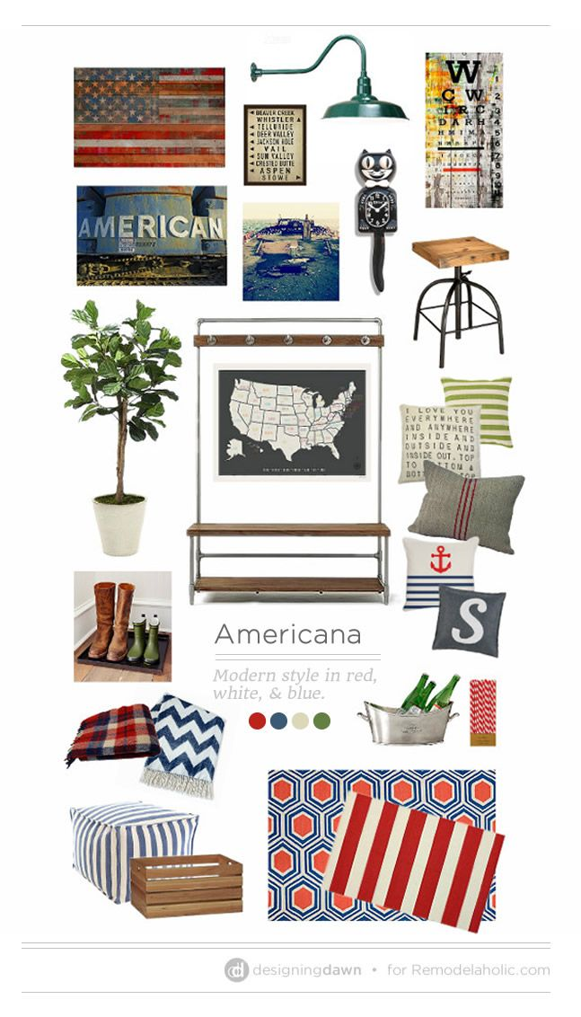 Everyday Americana MoodBoard by Designing Dawn for Remodelaholic.com