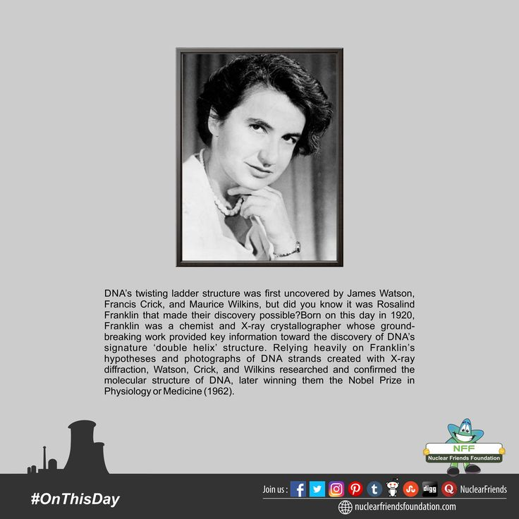 #OnThisDay DNA's twisting ladder structure was first uncovered by James Watson, Francis Crick, and Maurice Wilkins, but did you know it was Rosalind Franklin that made their discovery possible? Born on this day in 1920, Franklin was a chemist and X-ray crystallographer whose ground-breaking work provided key information toward the discovery of DNA's signature 'double helix' structure. Relying heavily on Franklin's hypotheses and photographs of DNA strands created with X-ray diffraction…
