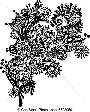 Clipart Vector of Hand draw black and white line art ornate flower ...