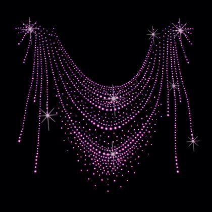13x12  - PURPLE SWOOP NECKLINE - STUDS - neckline, purple swoop, rhinestuds, studs, swoop, Material Transfer, Fashion, Necklines