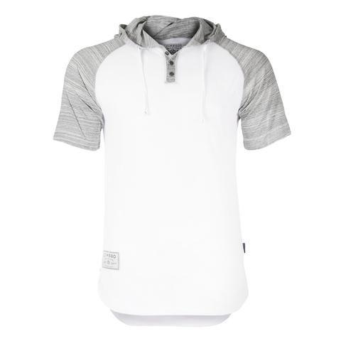852005ad4cf7 Zimego Short Sleeve Raglan Henley Hoodie Round Bottom Semi Longline T-Shirt