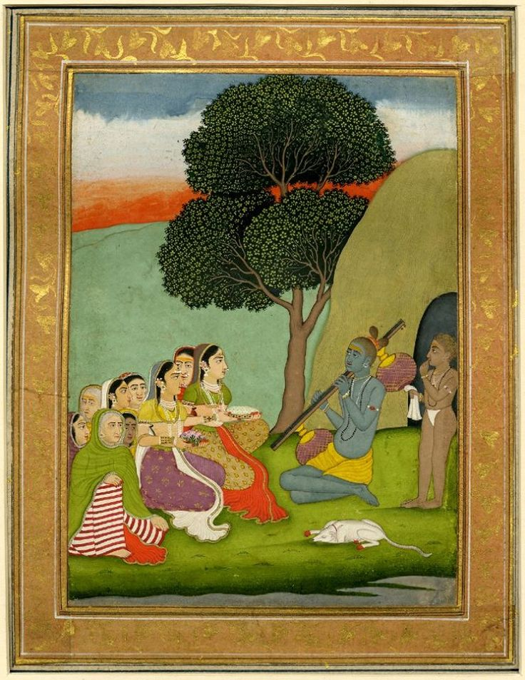 Woman visiting hermit playing vina with attendant and dog.   Mughal Style 18thC(late) India