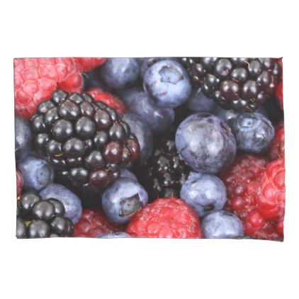 #Raspberry blueberry and blackberry berry pattern pillow case - #Pillowcases #Pillowcase #Home #Bed #Bedding #Living