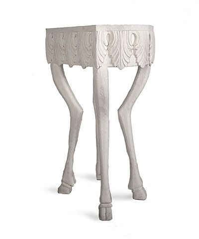 Stag Leg Accent Table - 30 - A tall accent table well-suited to holding a tray of drinks or displaying an elegant treasure, the Stag Leg Accent Table combines whimsy and formality into a breathtaking transitional take on past centuries' hunting-lodge antiques. Top with a mirrored coffer for an individual interest in the master bath or drape with a colored scarf for an eclectic feel in a guest room.