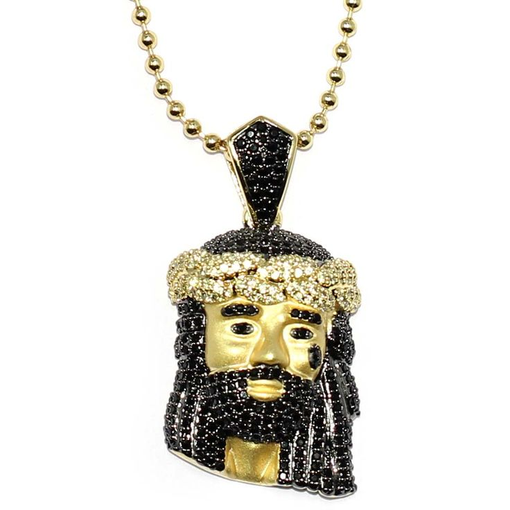9 best micro jesus pendants everythinghiphop images on 18k gold plated black cz jesus piece with 30 inch ball chain and 30mm pendant aloadofball Gallery