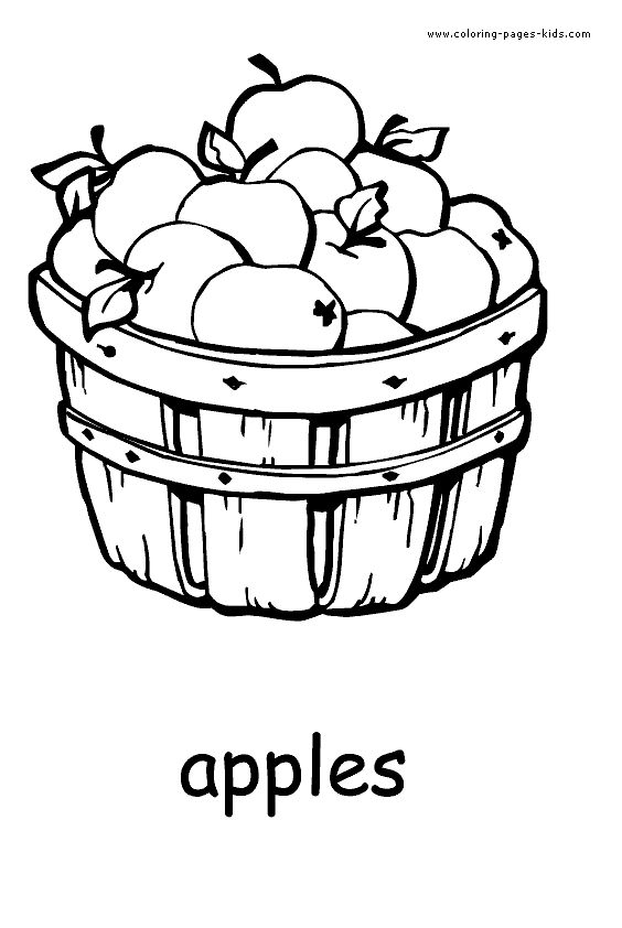 Apples Fruit Color Page Fruits Coloring Pages Plate Sheet Printable