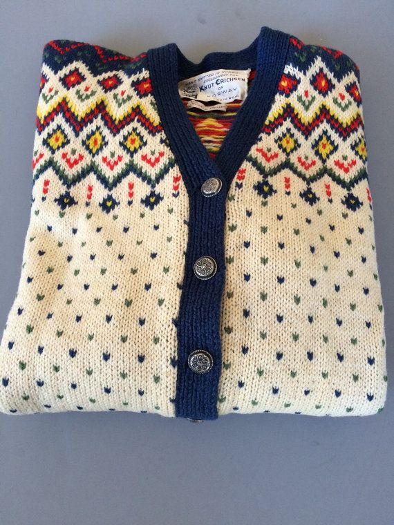 Vintage Wool Norwegan Cardigan Sweater | Fair Isle White Blue Red Yellow Green…