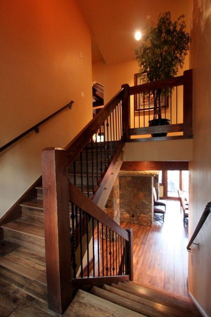 Wood Railings Rustic Stair Railing In 2019 Rustic Stairs