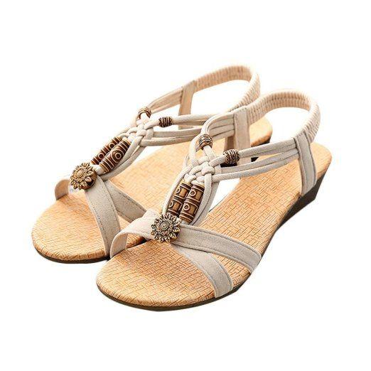 Sandali,Ouneed® Donna Sexy Girls Estate Pantofole Boemia Fiore Tallone Scarpe Flip Flop Sandali (Beige , 37)