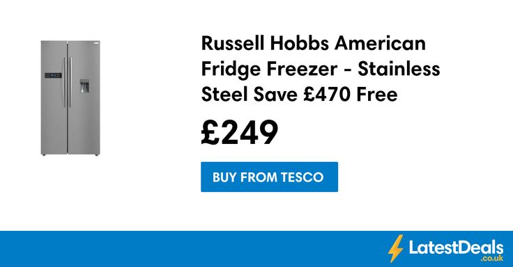 Russell Hobbs American Fridge Freezer - Stainless Steel Save £470 Free Delivery, £249 at Tesco