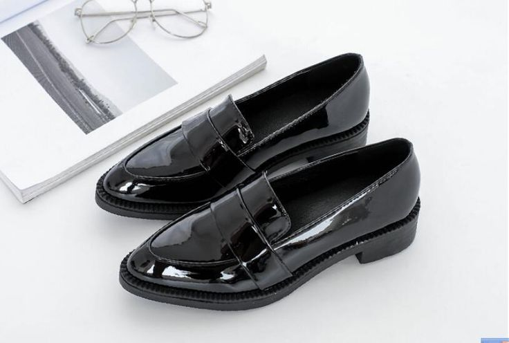 British Retro Womens Pointy Toe Oxfords Slip On Low Heels Dress Shoes