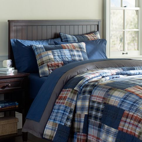 Regatta Patchwork Quilt & Sham | PBteen.  I love the plaid patchwork quilt; want to makes some for the boys