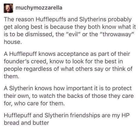 hufflepuff and slytherin relationship advice