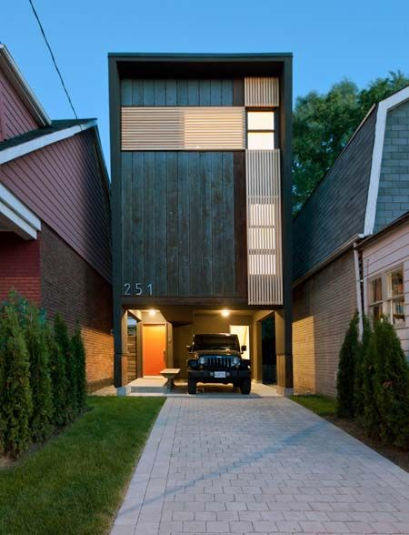 "The ""Shaft House"", a 1,400 sq ft home built on a 20' wide lot in Toronto, Canada; designed by architect Reza Aliabadi; photo by borXu Design"