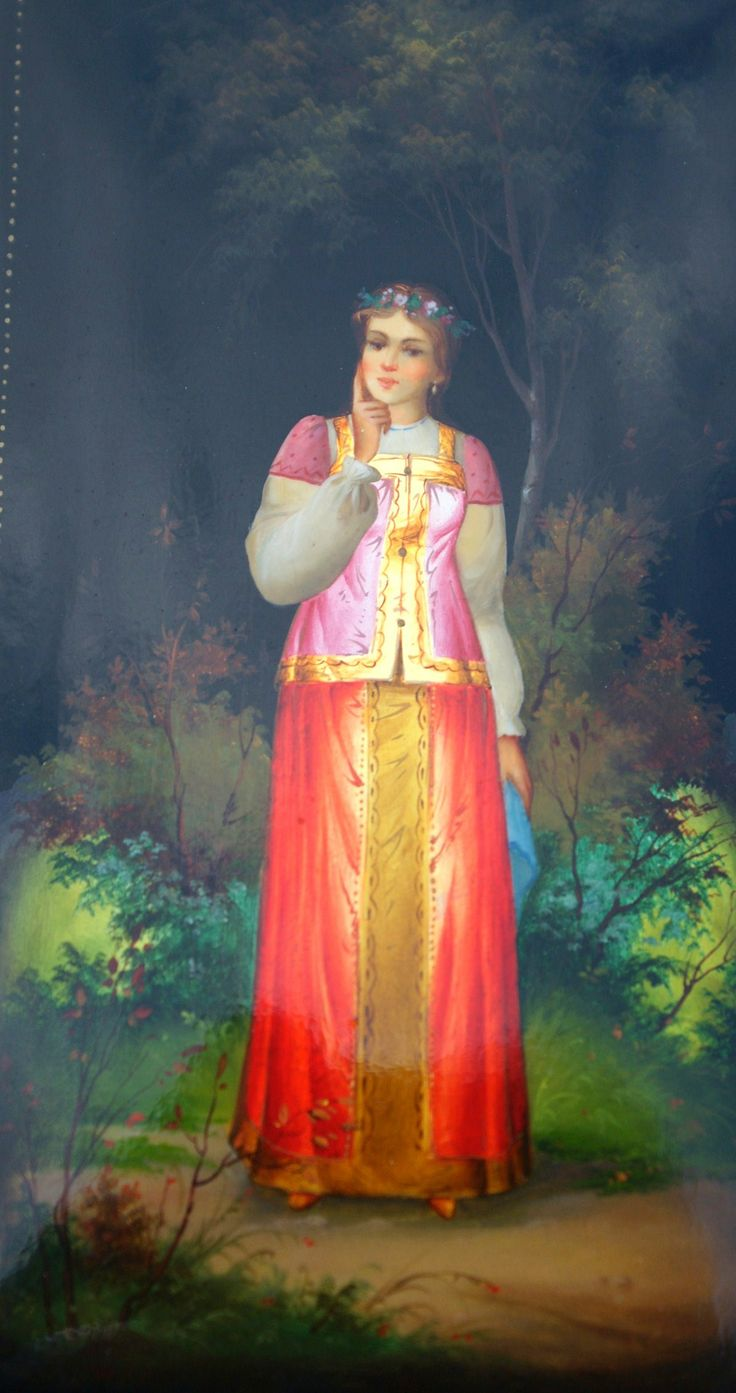 Russian lacquer miniature from the village of Fedoskino. Russian beauty in traditional attire.