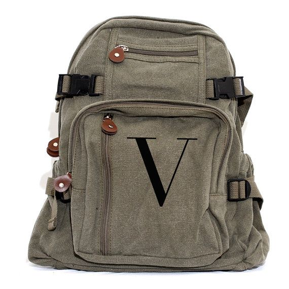 Personalized Backpack Monogram Canvas Backpack by mediumcontrol