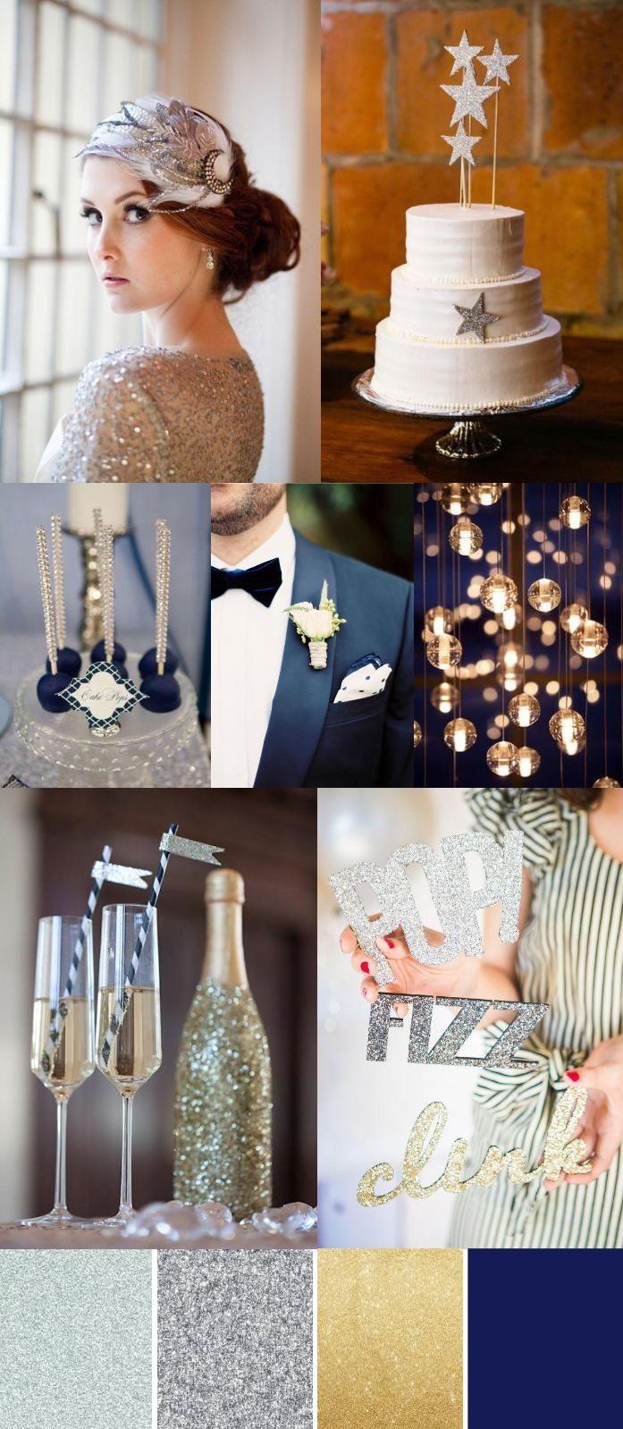 Midnight Blue, Silver & Gold Winter Wedding Palette
