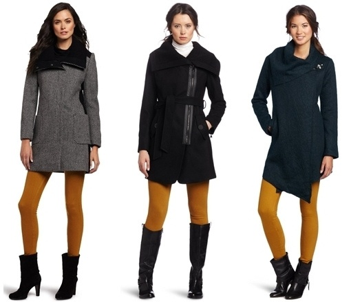 mustard tights worn with winter coat