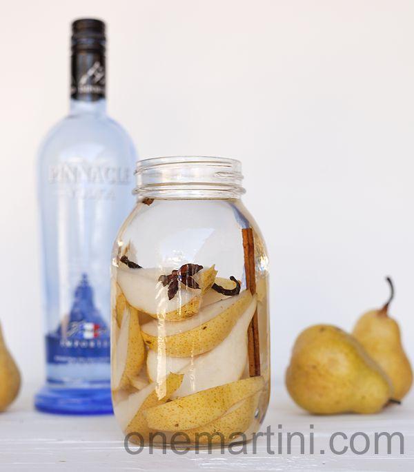 spiced pear vodka tutorial 2 pears 1 cinnamon stick 1/2 vanilla bean 1/2 star anise 5 cloves 750 ml vodka Quart size mason jar