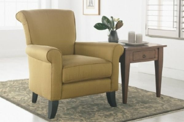 Dallas - 100% hardwood frame with attached legs, available in 3 stains. Tight high back box seat with welt.  Ottoman available also.