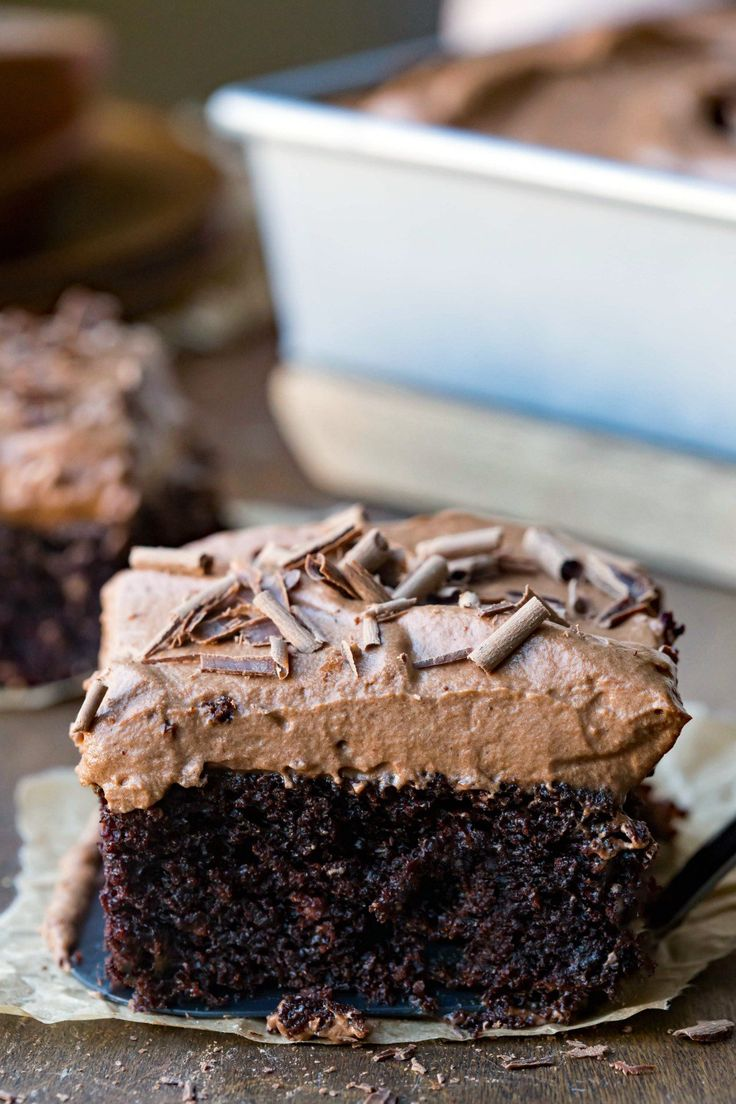 Chocolate Mousse Cake Recipe - moist dark chocolate cake topped with an easy rich & creamy chocolate mousse topping!