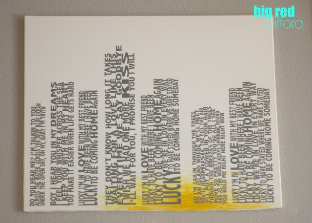 lucky lyrics in skyline art above the bed. it makes me so happy.