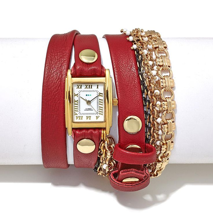 La Mer Pollara Goldtone and Beaded Chain Genuine Leather Wrap-Design Watch - Red