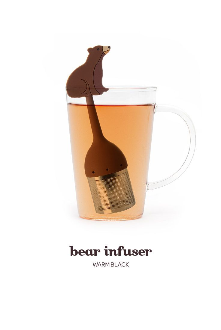 A stainless steel and silicone infuser shaped like a bear.