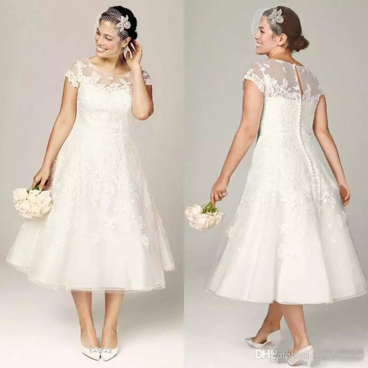 2017 Plus Size Wedding Dresses Tea Length Bridal Gowns Vintage Beach Wedding Dresses A Line Wedding Gowns With Cap Sleeves And Appliques Unusual Wedding Dresses Vintage Inspired Dresses From Longgxlong, $122.22  Dhgate.Com